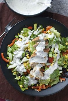 Southwest Salad with Healthy Spicy Cilantro Dressing