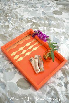DIY painted wave tray tutorial at www.whatsurhomestory.com
