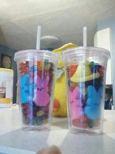 Easter craft. Reusable cups from the Dollar store, marshmallow peeps and jelly beans.
