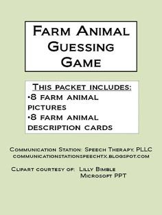 [Speechie Freebies] Communication Station: Speech Therapy, PLLC Farm Animal Guessing Game