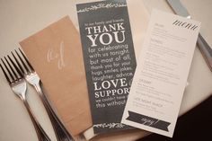 Thank you note at place settings. shot by @Edyta Szyszlo @edytaphoto