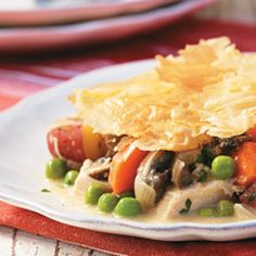 Turkey Pot Pie = perfect dish to make on a cold night. It's only 185 calories per serving. Loaded with veggies!