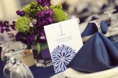 centerpiec, blue green, purple flowers, lime green, limes, blue tablecloth, table numbers, blues, plum