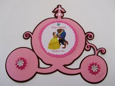 Disney Princess Beauty and the Beast Table Center   #silhouettecameo #cricut #card #birthday #babyshower #invitations #jingvitations #disneyprincess #princess #tablecenter