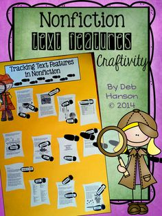 Track Text Features Craftivity!  Students label 17 text features including timelines, headings, subheadings, glossary, index, charts, graphs, diagrams, labels, captions and MORE!  $