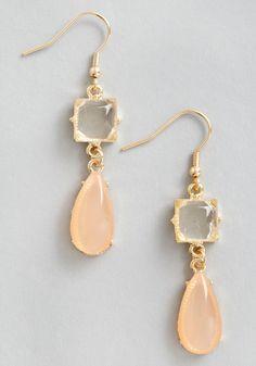 Droplets of Dew Earrings in Peach