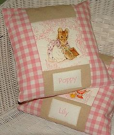 Pastel Beatrix Potter© Name Cushion - baby's room