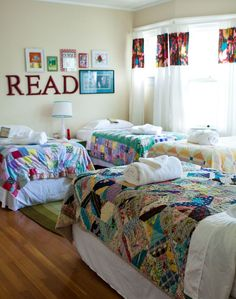 A bedroom big enough for a quilt-covered sleeping room for 4!