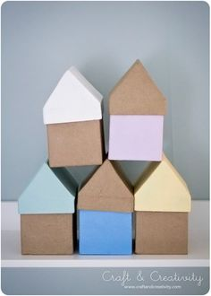 Painted paper mache house boxes - DIY by Craft & Creativity