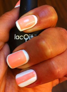 LacQit one step gel polish cream sickle nails! It's a white out and Tangerine Tango www.lacqit.com