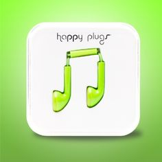 Green headphones for my iPhone from Happy Plugs