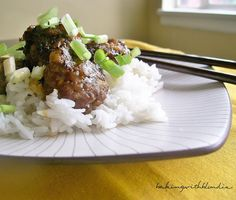 Spicy apple glazed meatballs- OMG these were good!