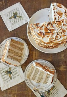 Banana Meringue Cake with Cinnamon-Sour Cream Ganache