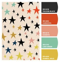 Fun stars happy palette scheme party fashion hipster kids fabric print quirky. pinks corals mustard yellows aquas black off-beat branding suite marketing logo contrasting colors. Paint colors from #ChipIt by #SherwinWilliams fun paint schemes, hipster color palette, de color, color palette hipster, paint colors