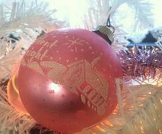 Pink Silent Night Shiny Brite ornament