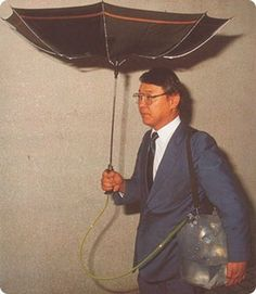19 Awesomely Impractical Japanese Inventions - Chindōgu (n.): The Japanese art of inventing gadgets that are seemingly useful but too absurd to actually use./ For collecting rainwater or making walking in the rain a much heavier ordeal than it needs to be