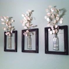 DIY Hanging picture frame vases.   Frames.