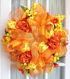 Deco Mesh Wreath Summer Orange Yellow Peony Door Wreath