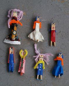 Cómo hacer #muñecos con #pinzas de #madera de tender ropa  #ecología #reducir #reciclar #reutilizar vía @Irene Bickhardt