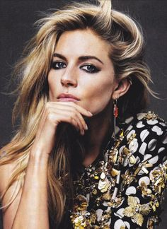 sienna miller // love the side-swept hair and smokey #makeup