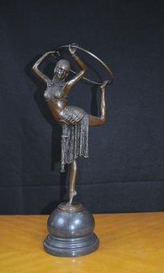 Art Deco Bronze Chiparus Hoop Dancer Figurine Signed Statue