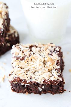 Coconut Brownie Recipe on twopeasandtheirpod.com Love these rich and fudgy brownies! #brownies