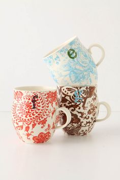 gift ideas, anthropologie, coffee cups, homegrown monogram, tea, hostess gifts, monograms, mugs, bridal showers