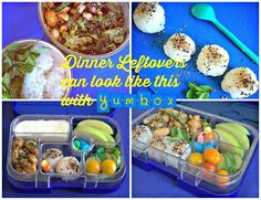 Yumbox lunch with leftover sesame chicken, sticky rice balls stuffed with broccoli, cucumbers, tomatoes, apple, vanilla yogurt and Haribo candy