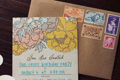 Sweet Peony Fill-In-The-Blank Invitation Set by juliaspoppies on Etsy