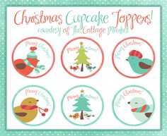 Free Adorable Christmas Cupcake Toppers for your Hoilday Fun!!!  Come and get the download at TheCottageMarket.com!
