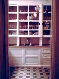 Victorian House Butler Pantry -- I love the sliding doors and the floor
