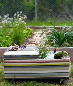 Today's final DIY is an Upholstered Garden Cart how-to! Perfect for spring! #diy #garden #upholstery #bench #cart