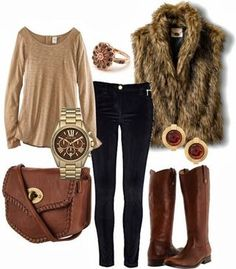 fashion, style, cloth, furs, fall outfits, winter outfits, brown boots, closet, fur vest