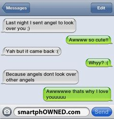 The 13 Most Adorably Cute Relationship Texts - Autocorrect Fails and Funny Text Messages - SmartphOWNED funny texts boyfriends, aww, funni text, sweet text boyfriend, cute relationships texts, sweet text messages, text messages funny boyfriend, angels, funny text messages boyfriend