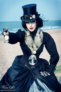 costum, steampunk fashion, dress, belt buckles, corset, steam punk, female models, halloween, hat