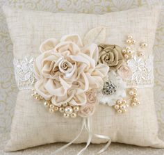 Ring Bearer Pillow and Flower Girl Basket in Ivory with Linen, Lace and Pearls- Shabby Chic Rustic Wedding. $180.00, via Etsy.