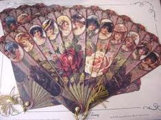 Victorian Fans with ladies and roses rose, vintag fan, victorian fan, hand fan