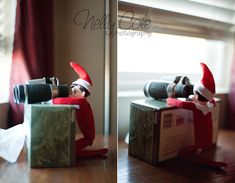 Elf on the Shelf idea - Elf checking out what's going on outside with binoculars