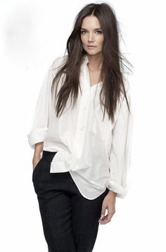 slouchy white button up shirt. always classic