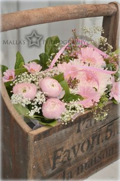 pink flowers, wooden boxes