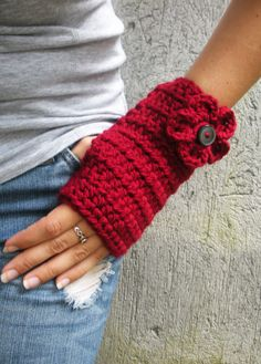 crocheted hand warmers. These are super easy and fast to make.  TOO cute