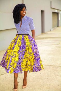 Striped Shirt | African print midi Skirt | http://stylepantry.com midi skirts, fashion, african prints, pantries, mixed prints, print midi, style pantri, woman style, casual dressy