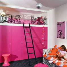 Built in loft bed - wrought iron railings open to make changing sheets easier. Pretty neat, but I think there needs to be more space so the child can sit up in bed. Love the idea of the closet space below though!