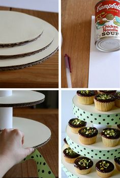 What a cute DIY cupcake stand!!!! Wow! Love this for when you need to display lots of cupcakes! For fetes or fairs, cake stalls or of course showers and parties!