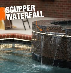 A scupper waterfall is a contemporary style of waterfall in which the water cascades in a flat horizontal sheet.