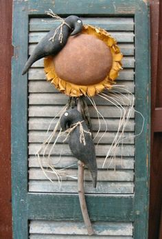 flower epattern, primitive sunflowers, crows and sunflowers, old shutters, craft, primit sunflow, crowsprimit bird, primit decor, primit idea