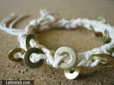Bohemian Brass Washer Bracelet. An inexpensive DIY crafty gift idea.