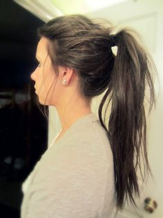 messy ponytail. Love it. And love the color.
