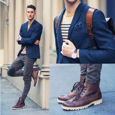 Shop this look for $314:  http://lookastic.com/men/looks/brogue-boots-and-jeans-and-blazer-and-crew-neck-t-shirt-and-pocket-square/128  — Burgundy Leather Brogue Boots  — Grey Jeans  — Navy Wool Blazer  — Tan Horizontal Striped Crew-neck T-shirt  — Navy Polka Dot Silk Pocket Square