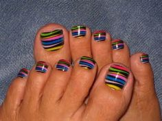 cool striped toenails design Cute Toenail Designs